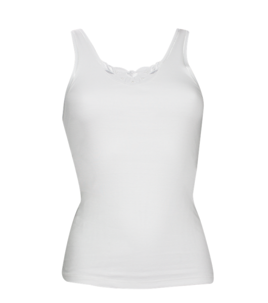 Baumwoll-Achselhemd mit Flachrand